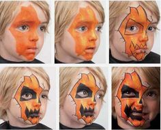 Jack O'lantern Halloween face painting tutorial