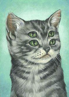 crazy cats, cat art, cats meow, painting art, cat eyes, cat paintings, eye art, cat lovers, illustr