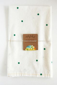 Green Dot Tea Towel Pair  /