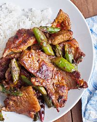 Pork and Asparagus with Chile-Garlic Sauce Recipe on Food & Wine