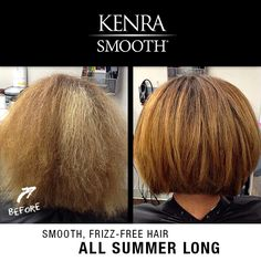 Tired of fighting frizz this summer? Kenra Smooth® has got you covered. Ask your stylist how you can eliminate up to 99% of frizz and curl after the first application!    Work by Lo Bruner at Salon Chic in Lincoln, Nebraska.
