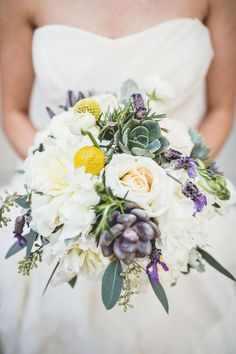 #bouquets #purple #yellow #succulents Photography by michaelmoss.com |  Design + Planning by eventsbylafete.com |  Floral Design by freshaffairs.com |   Read more - http://www.stylemepretty.com/2013/07/16/raleigh-wedding-from-events-by-la-fete-michael-moss-photography/