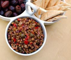 Olive and red pepper tapenade