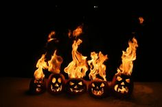 Flaming pumpkin family