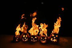 Flaming pumpkin family