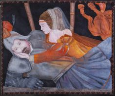 """""""Romeo and Juliet"""" art quilt by Sonia Bardella (Italy)"""