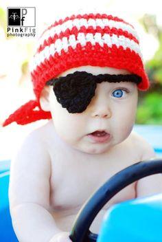 Pirate Kerchief Beanie Crochet Hat Pattern by SunsetCrochet      ♪ ♪ ... #inspiration_crochet #diy GB