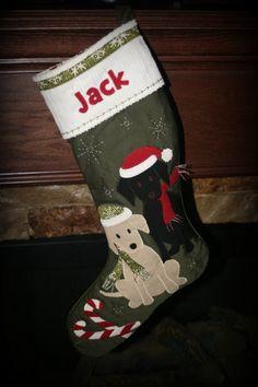 Appliqued labrador puppy Christmas stocking.