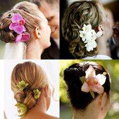 wedding hair hairdos flowers bridesmaids