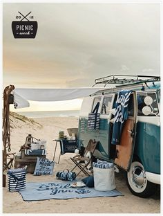 Happiness is... a picnic on the beach camper, beach camping, at the beach, camping picnic style, picnics on the beach, beach picnics, beachy summer style, picnic on the beach, picnic on beach