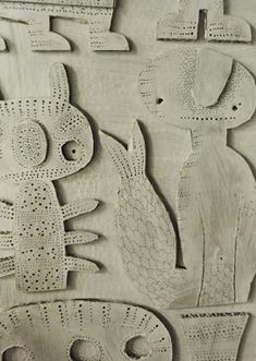 cardboard relief sculptures