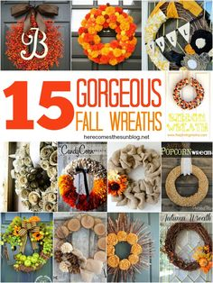 15 Gorgeous Fall Wreaths!  Create a statement piece for your door this Fall!