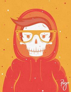 Skully in a hood by Rigo Ortiz, via Behance