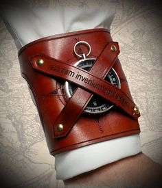 Steampunk Navigator Leather Cuff  by Discombobulous on Etsy, $55.00