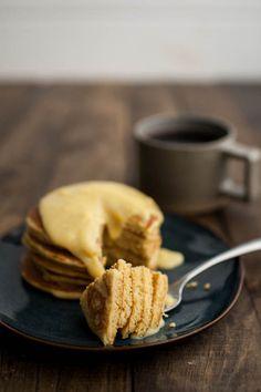 Cornbread Pancakes with Maple-Lemon Curd