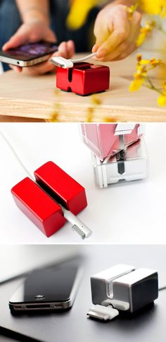 Cable Anchor - Never drop your computer or mobile phone power cords off the desk again. The anchor is a solid block is made of recycled aluminum and recyclable.