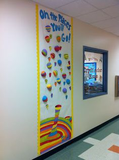 Door decoration for the 1st day of school. Each balloon will have the student's name. And as a first day of school activity we will read the book in class. This is a great activity to encourage students to start off on the right foot at the beginning of the year. happy birthdays, student, bulletin boards, school doors, place, 1st day, hot air balloons, dr seuss, class door decoration