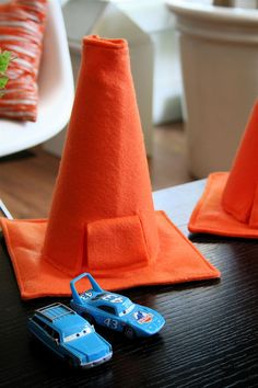 DIY Cars cozy cone motels from felt