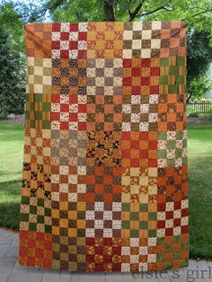 color palat, 16 patch quilt, fall quilts