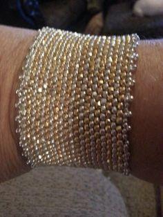 Silver  peyote stitched bracelet
