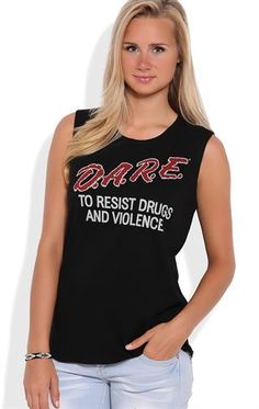Deb Shops Cotton muscle tunic tank with Dare screen