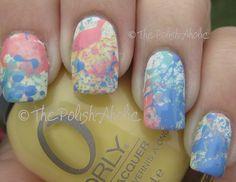 Splatter nails + matte finish.