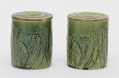 Set of Two Green Glazed Ceramic Kitchen Jars | Early 20th Century - $75