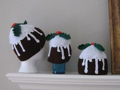 Baby Toddler Christmas Pudding Fudge Cupcake by NightAndDayCrochet   Could these be any cuter? crochet hat, toddler christmas, christma pud