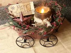 Christmas lighted wagon