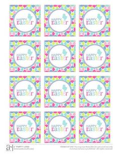 Happy Easter Printable great for cupcake toppers and party favors.