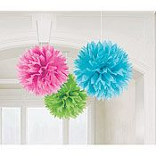 idea, hanging decorations, party supplies, tissue pom poms, parties, paper pom poms, pink, shower, papers
