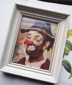 Vintage Framed Clown Print by bedouin on Etsy, $10.00