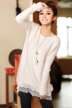 Scoop Collar Loose Fit Lace Hem Long Sleeve Women's Knitted Sweater