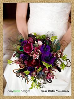 peacock bouquet | peacock feather fern anemone bouquet