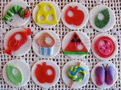 12pc fondant Hungry Caterpillar cupcake toppers(EDIBLE). $19.00, via Etsy.