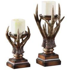 Deerfield Antler Candle Holder Set
