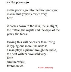 as the poems go, by charles bukowsky