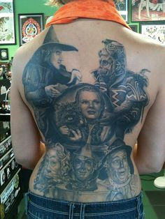 Wizard of Oz back tattoo. Oh my.