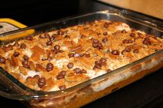 PUMPKIN DUMP CAKE What you need: 1 can of pumpkin {15 oz.} 1 can of evaporated milk 1 c. of brown sugar {packed} 3 eggs 2 dashes cinnamon 2 dashes nutmeg 1 box white cake mix 1/2 cup {1 cube} butter