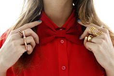 red bow, fashion, style, bowti, accessori, bow ties, gold rings, bows, blue nails