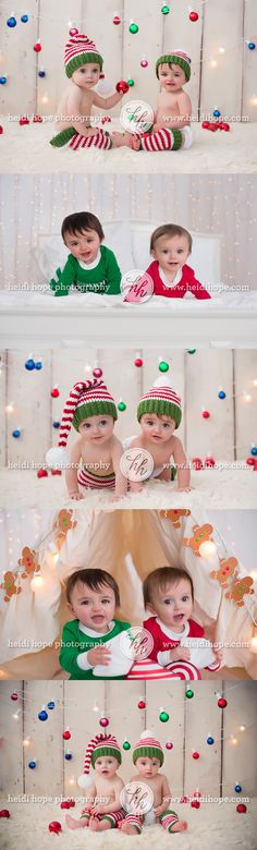 twin baby holiday christmas card portrait photography by heidi hope #christmas #twins #baby #portraits #holiday #cards #colorful #lights