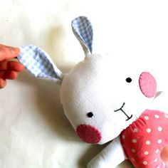 Stuffed rabbit soft toy stuffed bunny rag doll bunny stuffed toy softie white blue pink 31 cm 12 gift for Easter. $28.00, via Etsy.