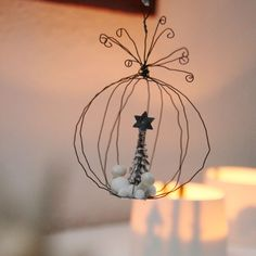 wire christmas balls with miniature landscape.