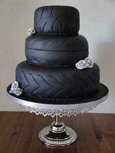 tire cake, gold weddings, wedding ideas, wedding decorations, wedding cakes, wedding planners, groom cake, bride groom, birthday cakes