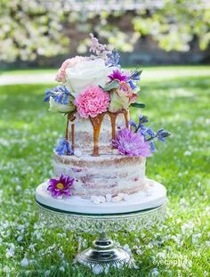 Naked Dripping Caramel Floral Wedding Cake
