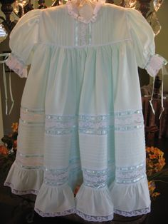 Light Green Heirloom Lace and Ribbon Dress. 185