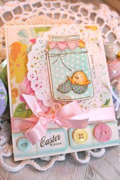An adorable Easter card using PTI's Friendship Jar- Spring Fillers stamp set...