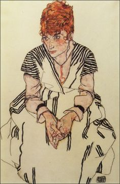 The Artist's Sister-in-Law in Striped Dress Seated ~ 1917 | Egon Schiele