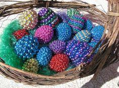 Mardi Gras bead easter eggs