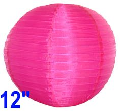 "Round Chinese Japanese Silk Lantern 12"" Fuchsia  Diameter: 12""  Expanding with a metal frame  Bulb and cord are not included"
